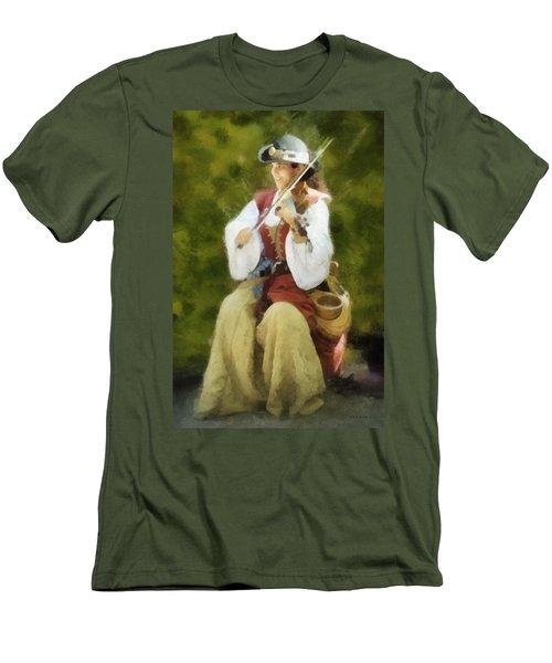Renaissance Fiddler Lady Men's T-Shirt (Slim Fit) by Francesa Miller