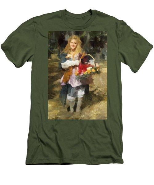 Renaissance Flower Lady Men's T-Shirt (Slim Fit) by Francesa Miller