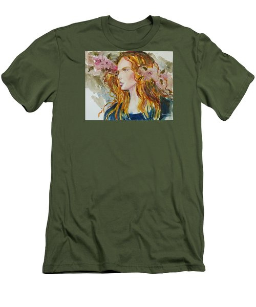 Men's T-Shirt (Slim Fit) featuring the painting Renaissance Woman by P Maure Bausch