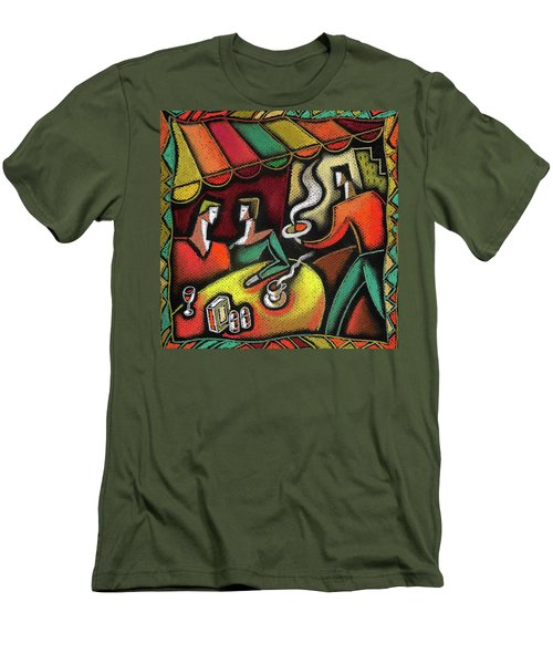 Men's T-Shirt (Slim Fit) featuring the painting Restaurant by Leon Zernitsky