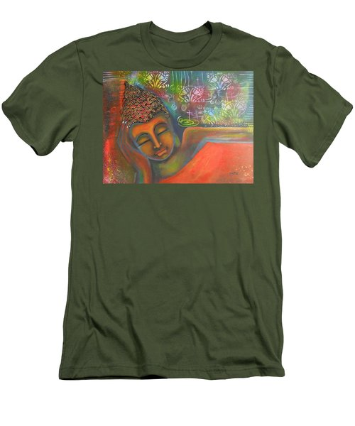 Men's T-Shirt (Slim Fit) featuring the painting Buddha Resting Against A Colorful Backdrop by Prerna Poojara