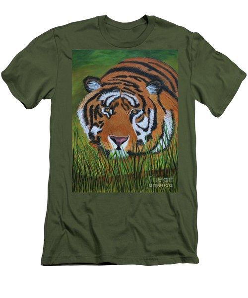 Resting Tiger  Men's T-Shirt (Slim Fit) by Myrna Walsh