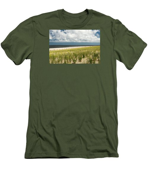 Men's T-Shirt (Slim Fit) featuring the photograph Restoring The Sand Dunes by Gary Slawsky