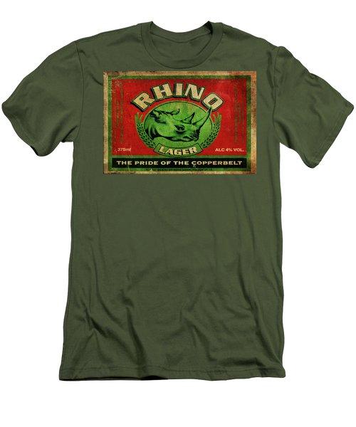 Men's T-Shirt (Slim Fit) featuring the digital art Rhino Lager by Greg Sharpe