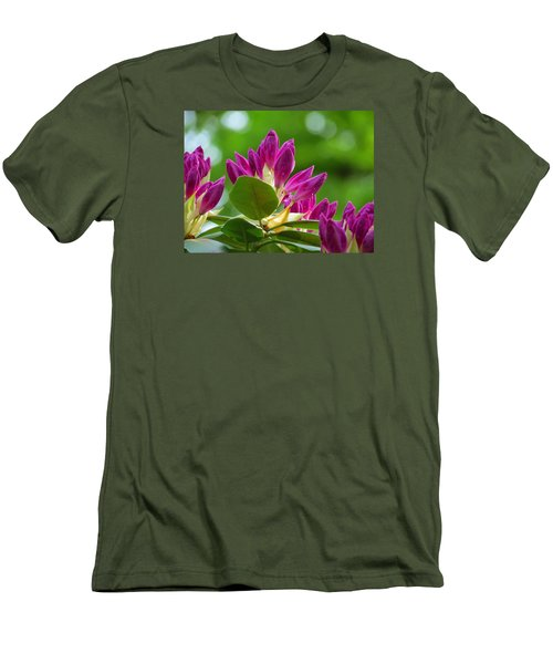 Rhododendron Buds Men's T-Shirt (Slim Fit) by MTBobbins Photography