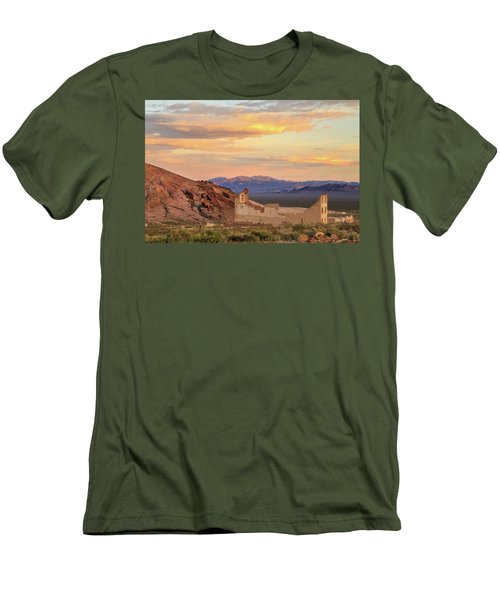 Men's T-Shirt (Slim Fit) featuring the photograph Rhyolite Bank At Sunset by James Eddy