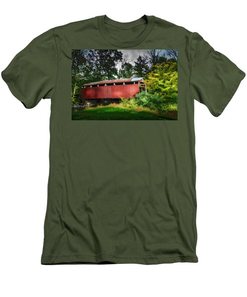 Men's T-Shirt (Slim Fit) featuring the photograph Richards Covered Bridge by Marvin Spates