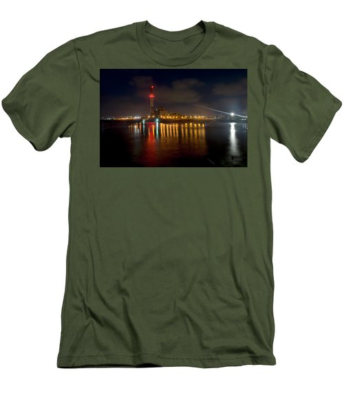 Men's T-Shirt (Athletic Fit) featuring the photograph Riding Station, Tel Aviv, Water Side by Dubi Roman