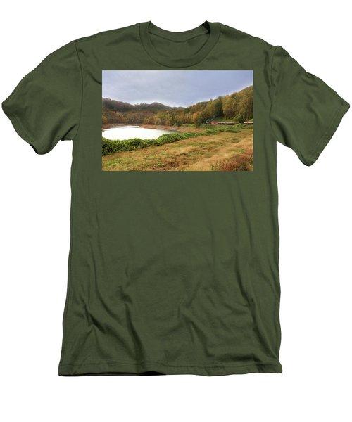 Men's T-Shirt (Slim Fit) featuring the digital art Riding The Rails by Sharon Batdorf