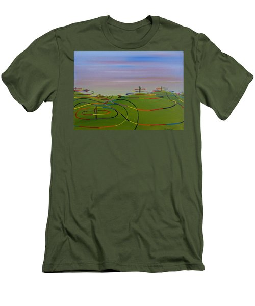 Men's T-Shirt (Slim Fit) featuring the painting Ripples Of Life 1.2 by Tim Mullaney