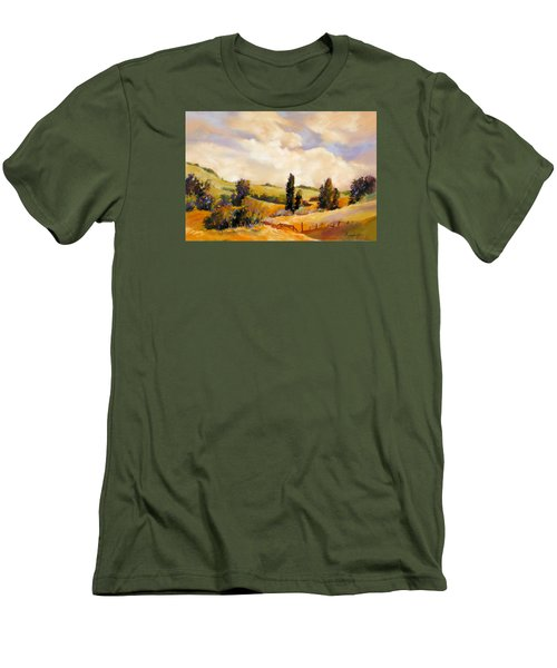Men's T-Shirt (Slim Fit) featuring the painting Rising Heat by Rae Andrews