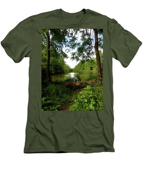 Men's T-Shirt (Slim Fit) featuring the photograph River Bend Seating by Kimberly Mackowski