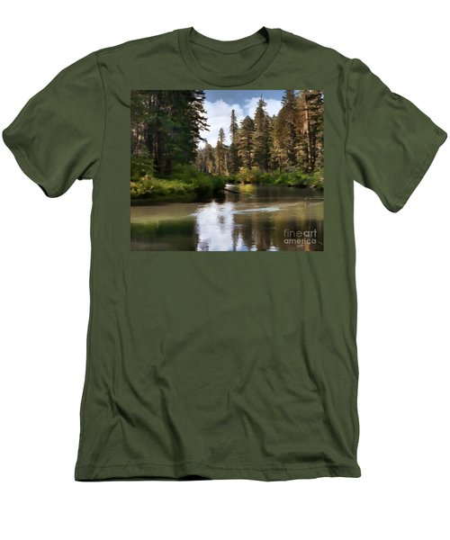 Men's T-Shirt (Slim Fit) featuring the painting Millers Creek Painterly by Peter Piatt