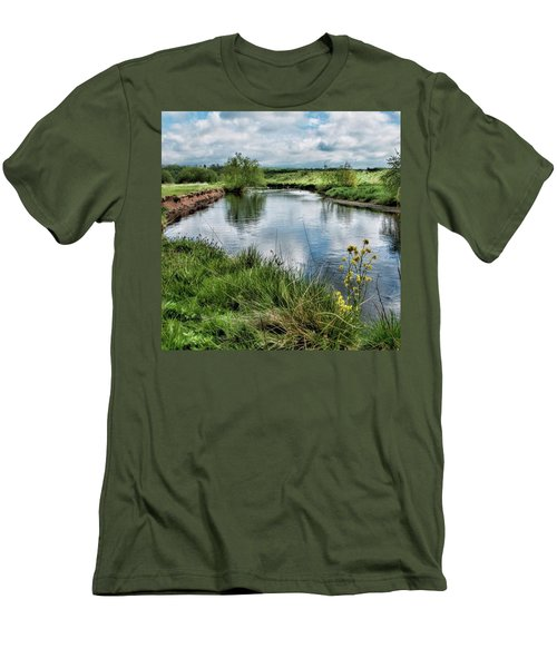 River Tame, Rspb Middleton, North Men's T-Shirt (Slim Fit) by John Edwards