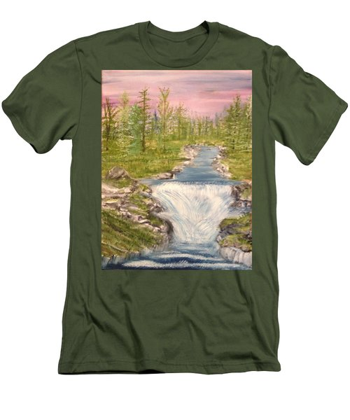River With Falls Men's T-Shirt (Athletic Fit)