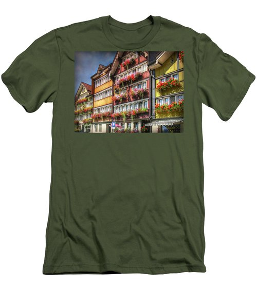 Men's T-Shirt (Athletic Fit) featuring the photograph Row Of Swiss Houses by Hanny Heim
