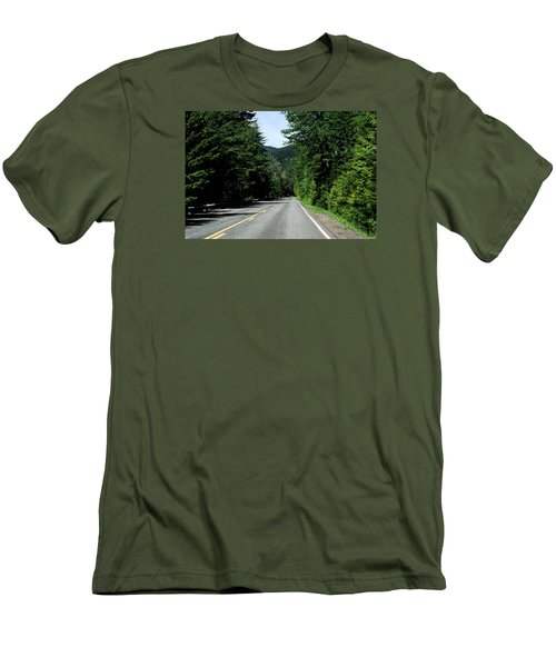 Road Among The Trees Men's T-Shirt (Slim Fit) by John Rossman