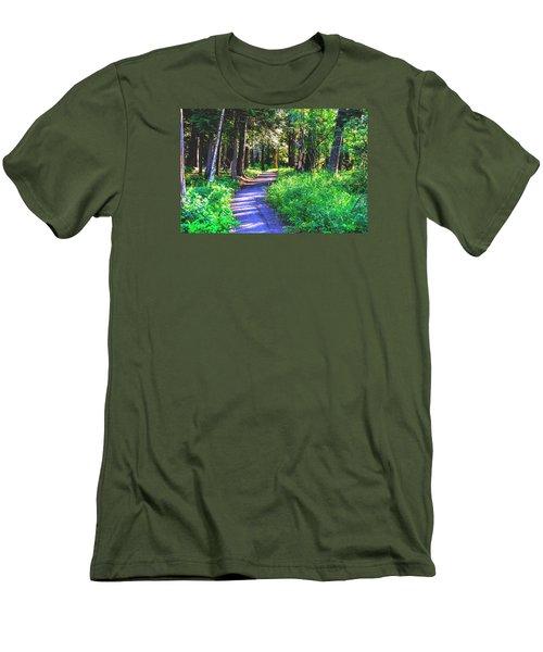 Road Less Traveled Men's T-Shirt (Slim Fit) by Susan Crossman Buscho