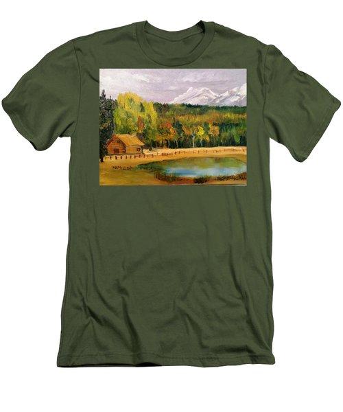 Road To Kintla Lake Men's T-Shirt (Slim Fit) by Larry Hamilton