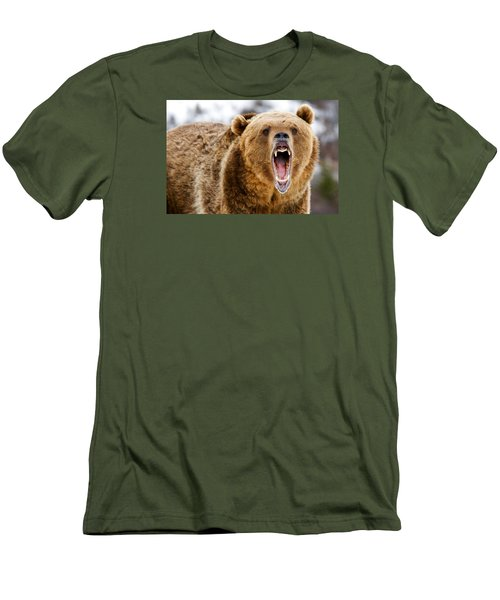 Roaring Grizzly Bear Men's T-Shirt (Athletic Fit)