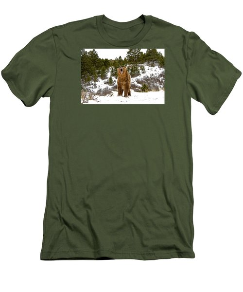 Roaring Grizzly In Winter Men's T-Shirt (Athletic Fit)
