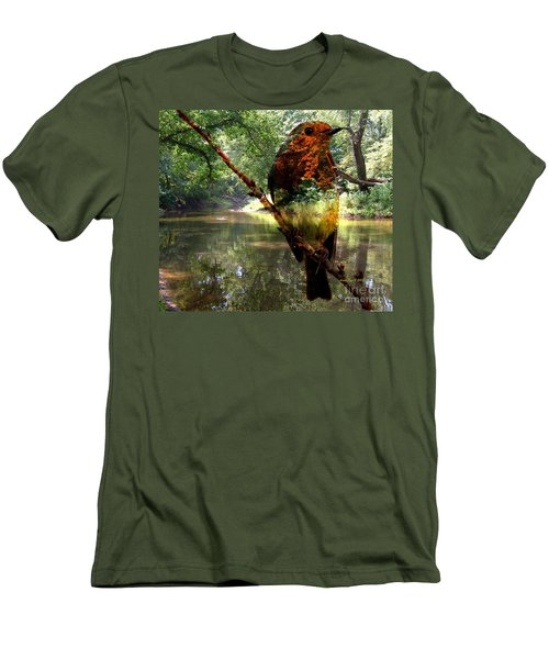 Men's T-Shirt (Slim Fit) featuring the photograph Robin By The River by Annie Zeno