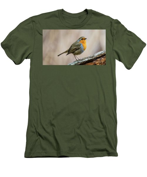 Men's T-Shirt (Slim Fit) featuring the photograph Robin In Spring by Torbjorn Swenelius
