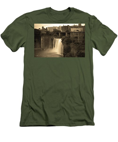 Men's T-Shirt (Slim Fit) featuring the photograph Rochester, New York - High Falls 2 Sepia by Frank Romeo