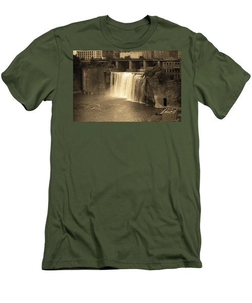 Men's T-Shirt (Slim Fit) featuring the photograph Rochester, New York - High Falls Sepia by Frank Romeo
