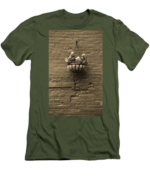 Men's T-Shirt (Slim Fit) featuring the photograph Rochester, New York - Wall And Flowers Sepia by Frank Romeo