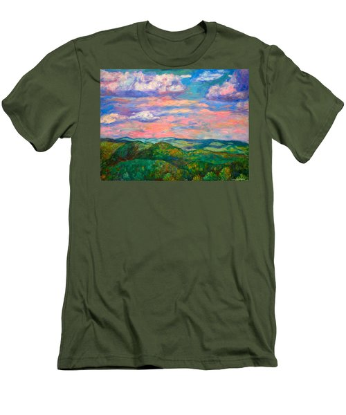 Men's T-Shirt (Slim Fit) featuring the painting Rock Castle Gorge by Kendall Kessler