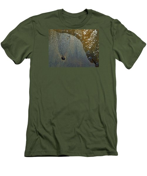 Men's T-Shirt (Slim Fit) featuring the photograph Rock Sand Water Sun 2  by Lyle Crump