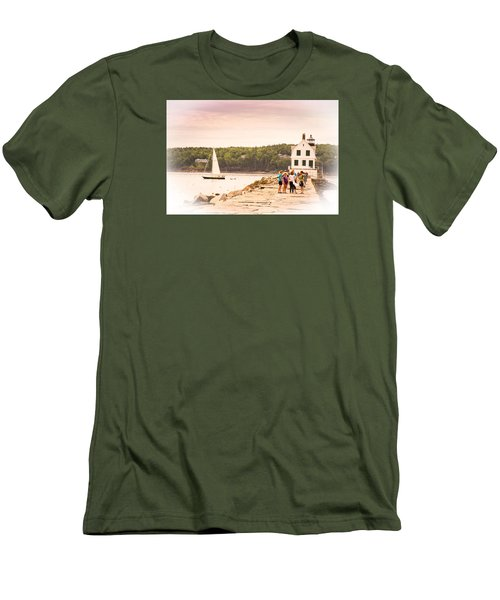 Men's T-Shirt (Slim Fit) featuring the photograph Rockland Breakwater by Paul Miller