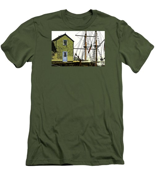 Men's T-Shirt (Slim Fit) featuring the photograph Rockport Harbor by Tom Cameron
