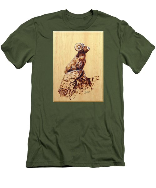 Men's T-Shirt (Slim Fit) featuring the pyrography Rocky Mountain Bighorn Sheep by Ron Haist