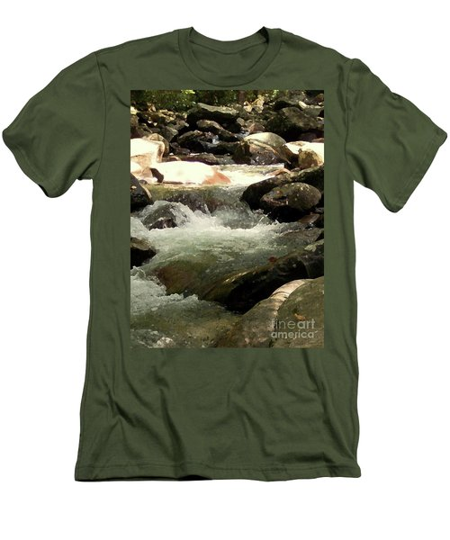 Men's T-Shirt (Slim Fit) featuring the mixed media Rocky Stream 4 by Desiree Paquette
