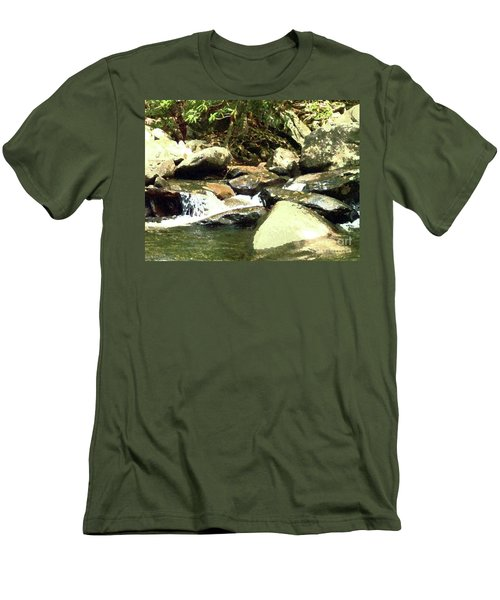 Men's T-Shirt (Slim Fit) featuring the mixed media Rocky Stream 5 by Desiree Paquette