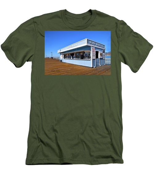 Men's T-Shirt (Slim Fit) featuring the photograph Rod Rental At The Pismo Beach Pier by Floyd Snyder