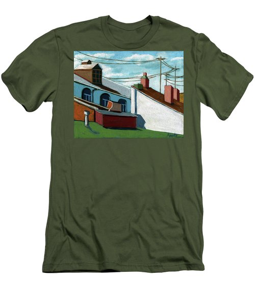 Men's T-Shirt (Slim Fit) featuring the painting Rooftops by Linda Apple