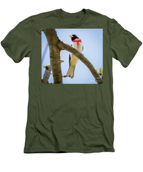 Men's T-Shirt (Athletic Fit) featuring the photograph Rose-breasted Grosbeak Looking At You by Ricky L Jones