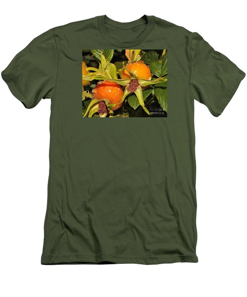Men's T-Shirt (Slim Fit) featuring the photograph Rose Hips by Debbie Stahre