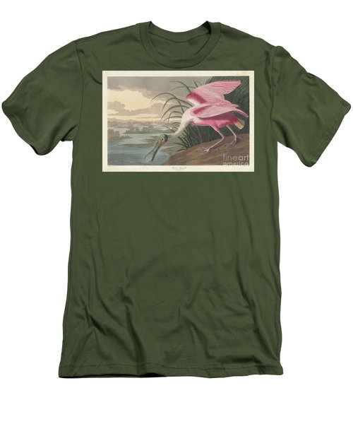 Roseate Spoonbill, 1836  Men's T-Shirt (Slim Fit) by John James Audubon