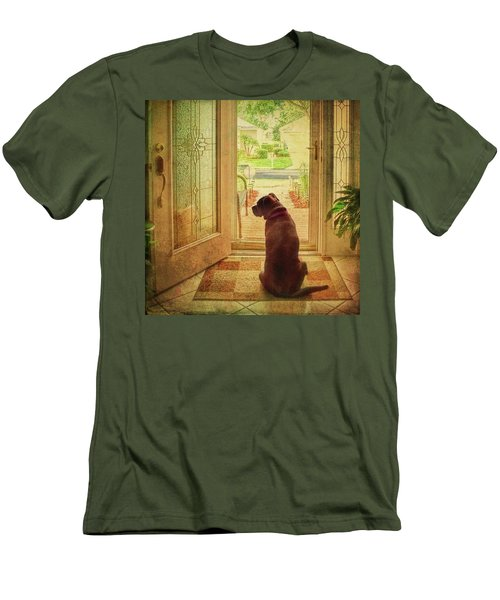 Men's T-Shirt (Athletic Fit) featuring the photograph Rosebud At The Door by Lewis Mann