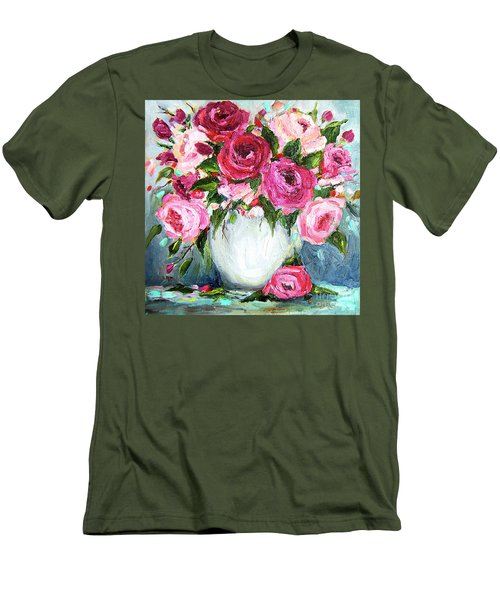 Roses In Vase Men's T-Shirt (Slim Fit) by Jennifer Beaudet