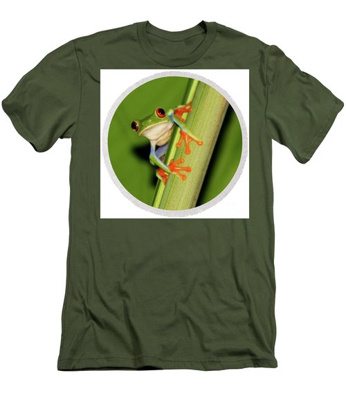 Men's T-Shirt (Slim Fit) featuring the photograph Round Towel Frog by Myrna Bradshaw