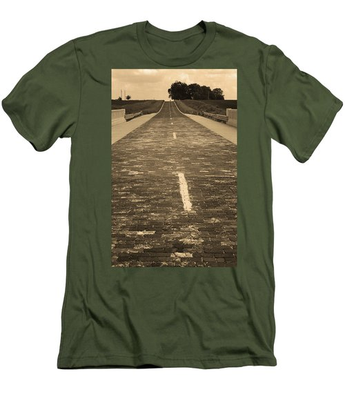 Men's T-Shirt (Slim Fit) featuring the photograph Route 66 - Brick Highway 2 Sepia by Frank Romeo