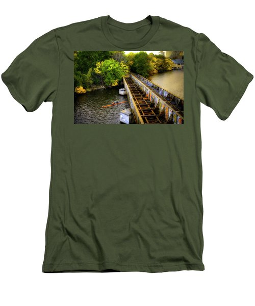 Men's T-Shirt (Athletic Fit) featuring the photograph Rowers Under The Boston University Bridge by Joann Vitali