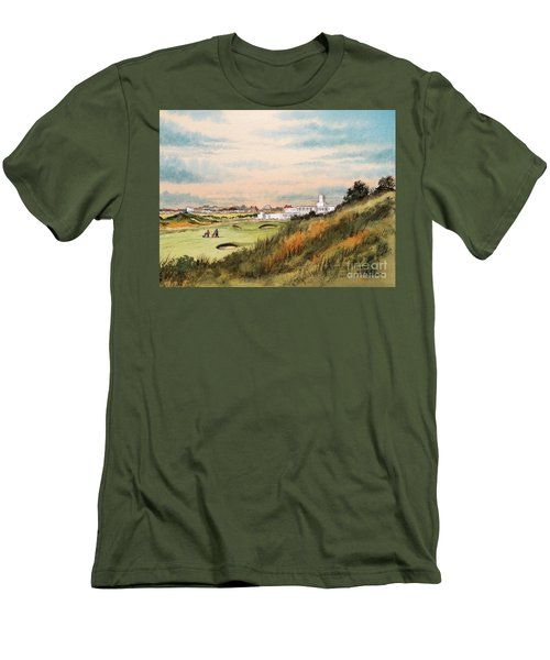 Royal Birkdale Golf Course 18th Hole Men's T-Shirt (Slim Fit) by Bill Holkham