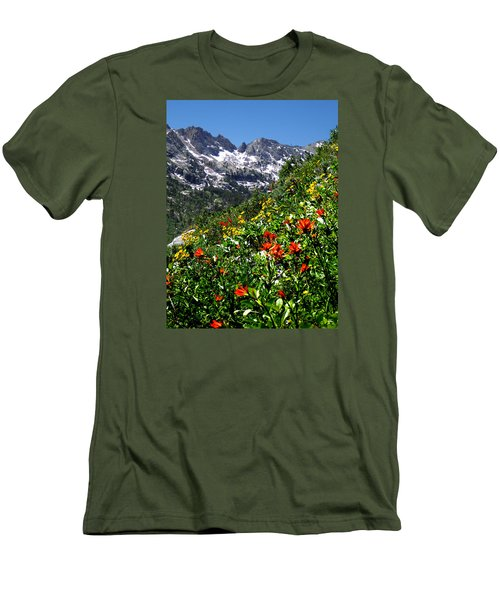Ruby Mountain Wildflowers - Vertical Men's T-Shirt (Slim Fit) by Alan Socolik