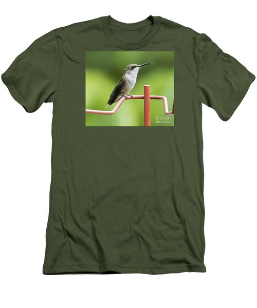 Men's T-Shirt (Slim Fit) featuring the photograph Ruby-throated Hummingbird by Ricky L Jones